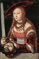 Lucas Cranach d.Ä._Judith mit dem Haupt des Holofernes_1530_ウィーン美術史美術館_赤袖.jpg